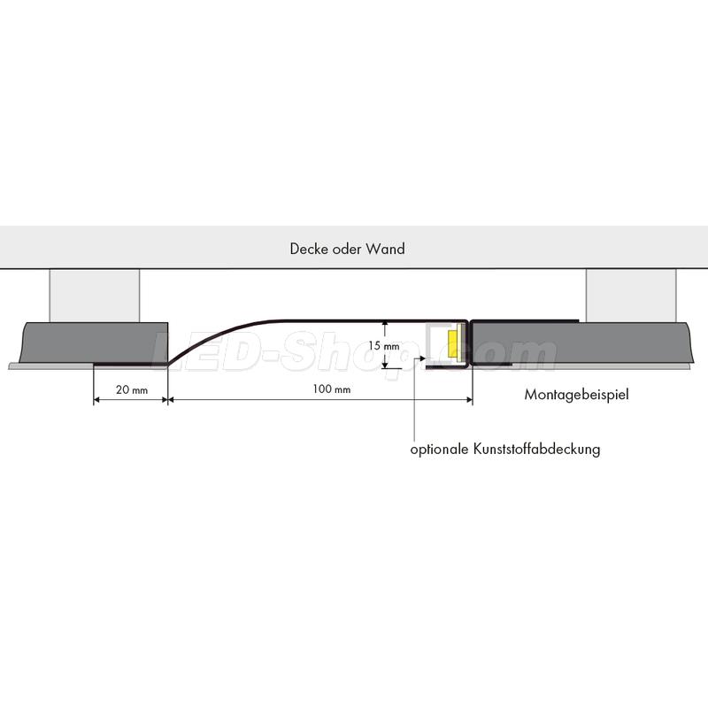 licht profil r gew lbt 2m 83 30. Black Bedroom Furniture Sets. Home Design Ideas